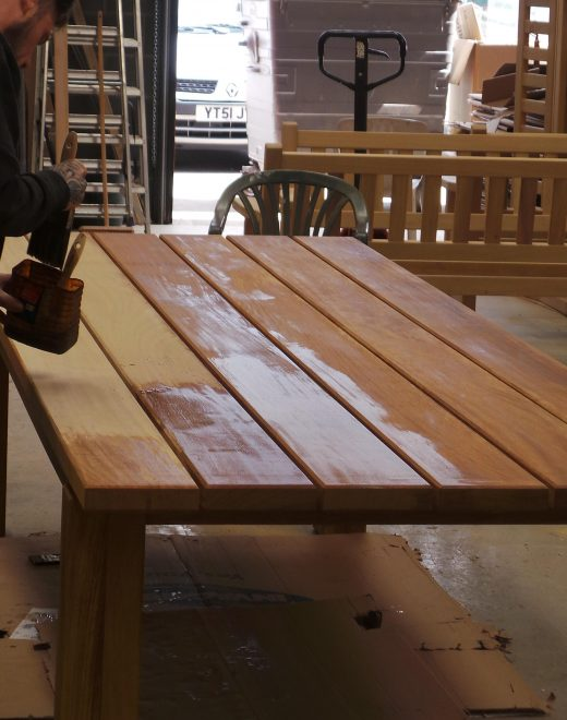 Alfresco protector applied to dining table
