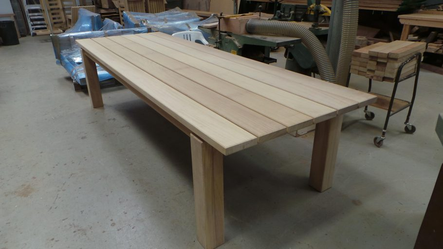 Large bespoke dining table sets sail for Portugal!