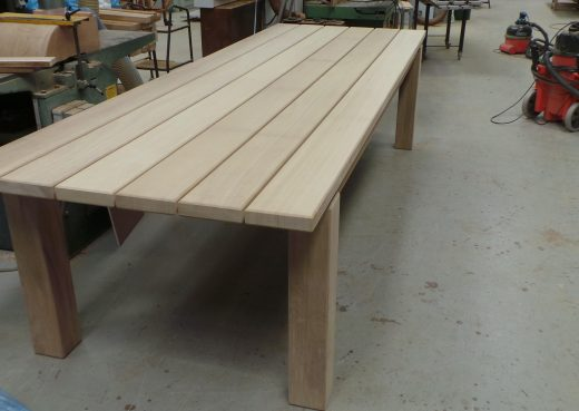 End view of large outdoor dining table