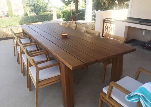 Looking really nice, our outdoor wooden dining table