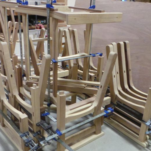 Regents Park bench components being assembled.