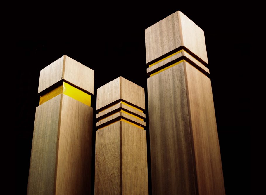 Woodcraft UK's timber bollards with reflective strips