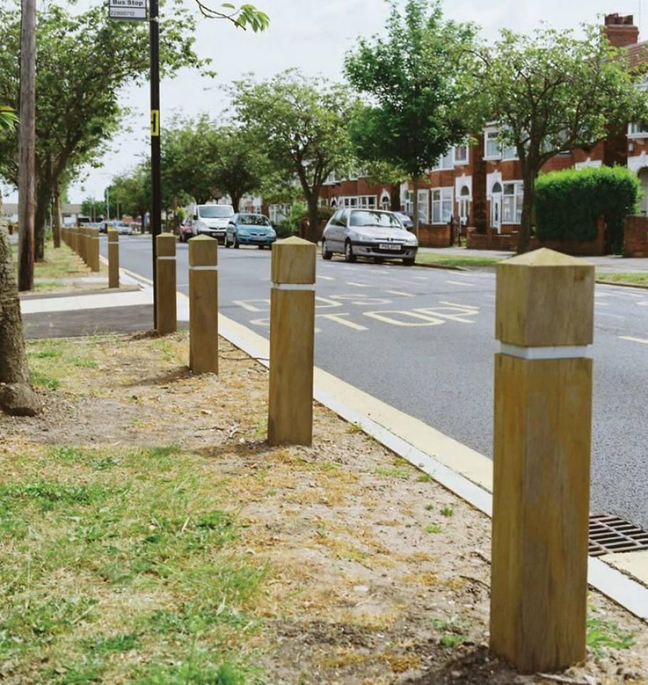 Timber bollards for parking control