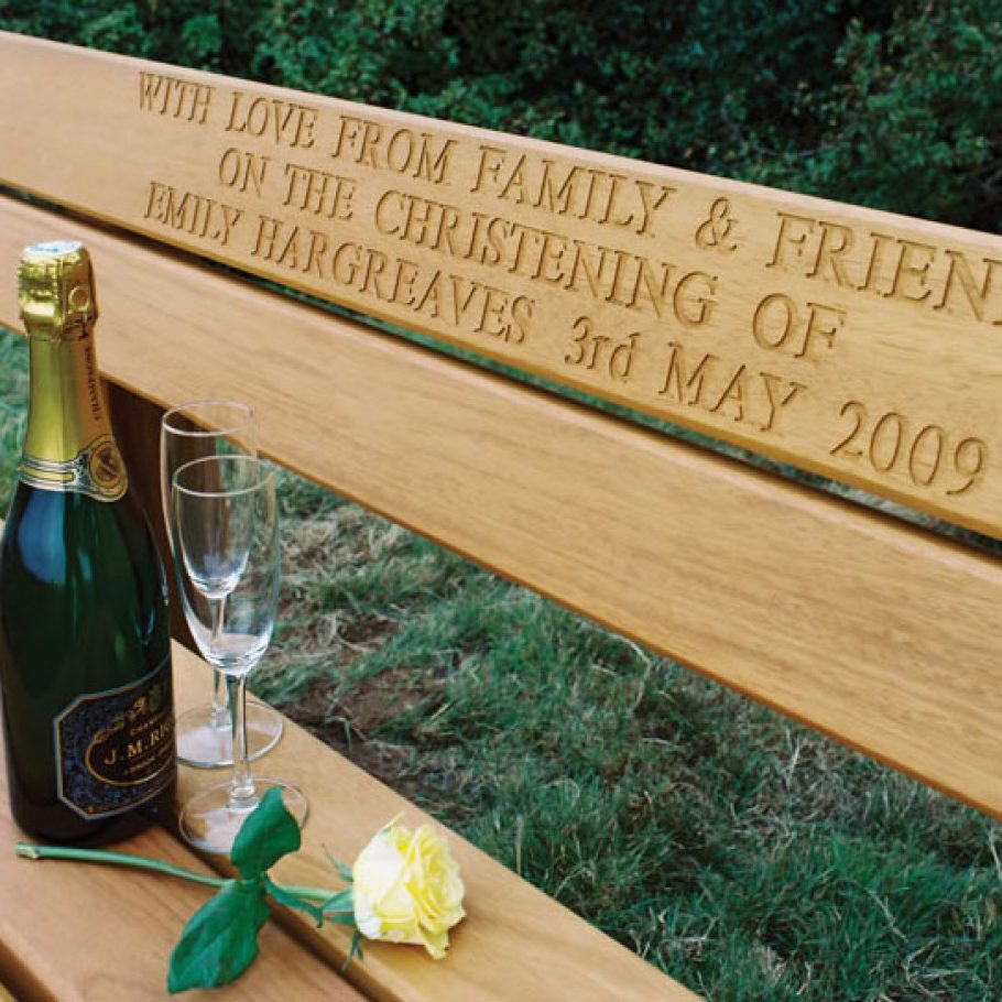 Wooden bench engraving close up