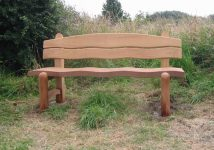 Wooden Waveform garden bench - Click to enlarge