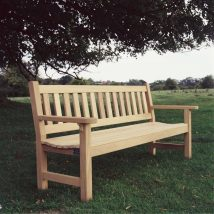 York garden bench with flat arms and standard top rail - Click to enlarge