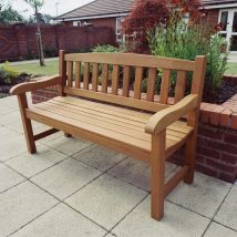 York patio bench with curved top rail - Click to enlarge