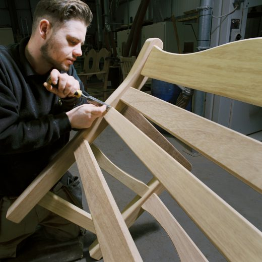 Luke finishing off a Beverley Garden Bench
