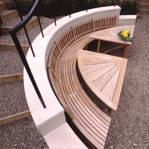 A bespoke garden bench and table set by Woodcraft UK