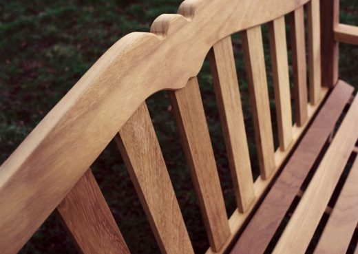 A Knaresborough bench protected with teak oil