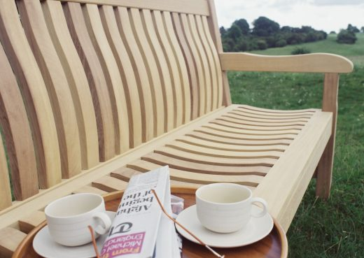 Detail view of the Scarborough wooden bench