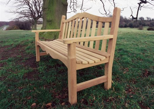 Side view of the Knaresborough wooden bench