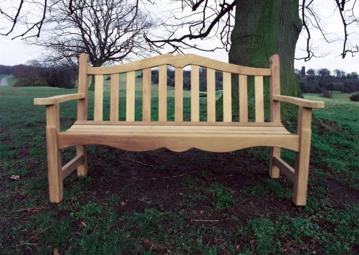 Front view of the Knaresborough wooden bench