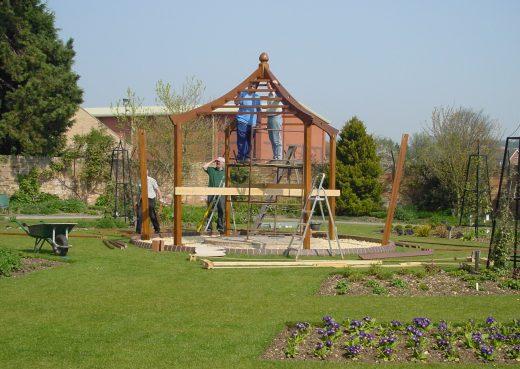 Construction of a wooden gazebo