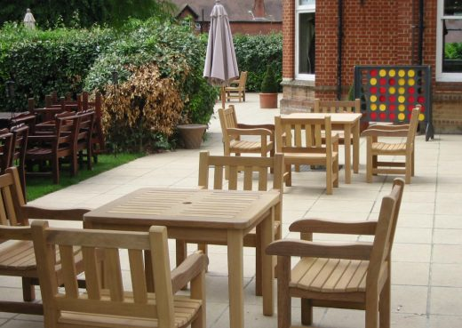 The standard dining table used for beer garden furniture