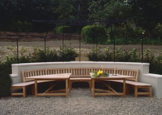 Large bespoke curved patio table and bench