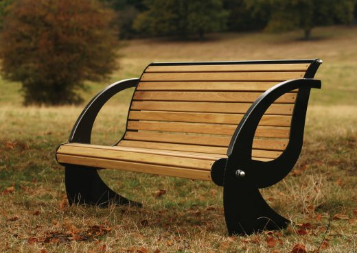 Spinnaker galvanized steel and wood bench