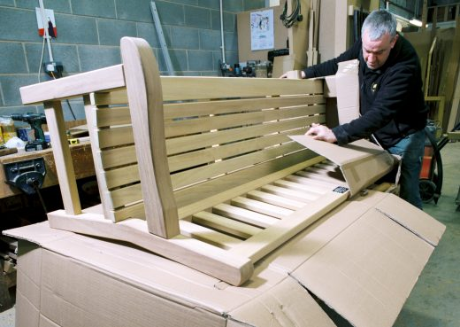 Another wooden bench ready for dispatch across the UK