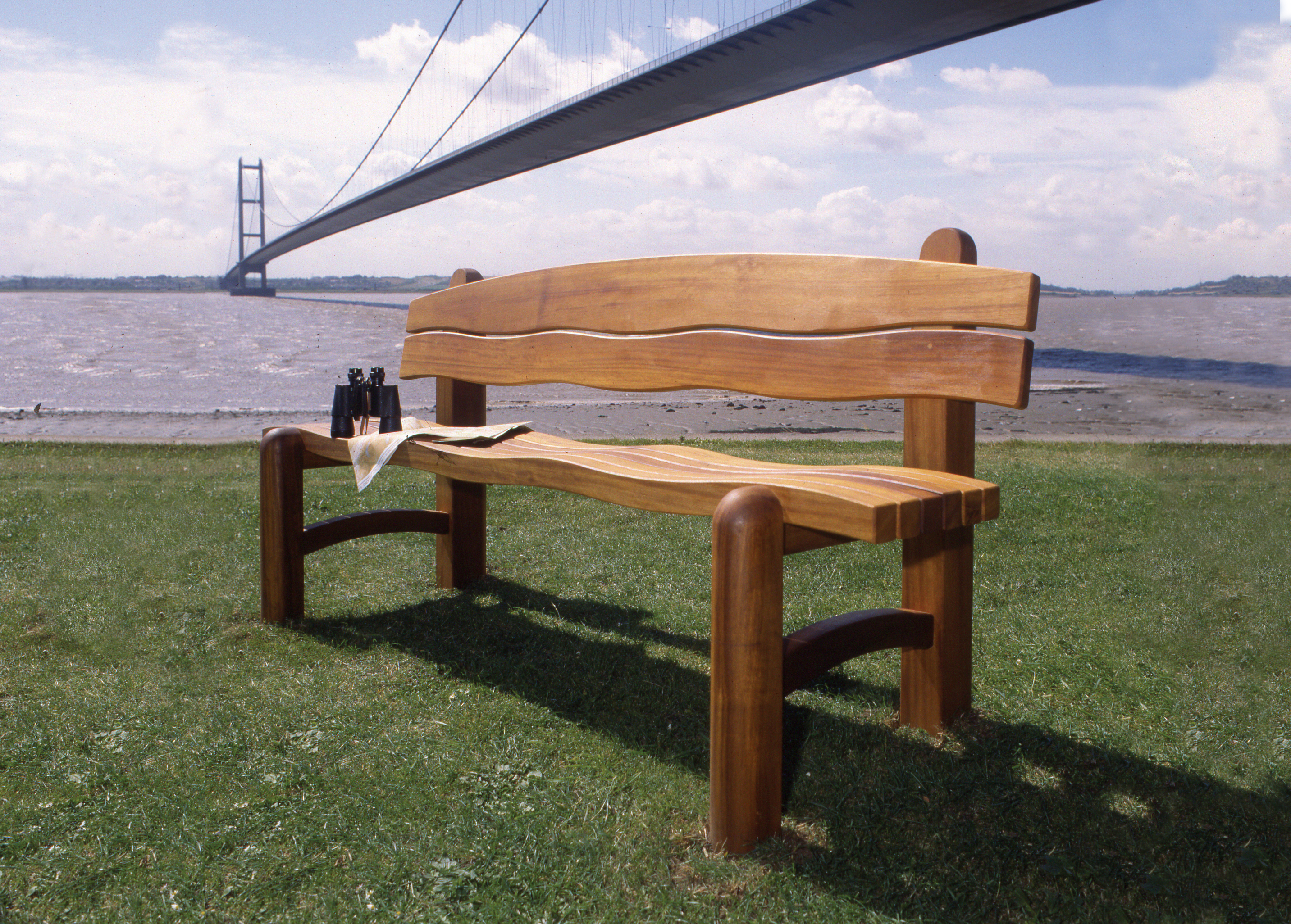 Waveform Wooden Garden Bench inspired by the Humber